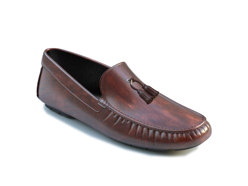 coffee deco leather tassel driver shoes