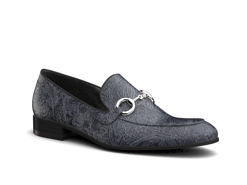 blue damask leather men horsebit loafer