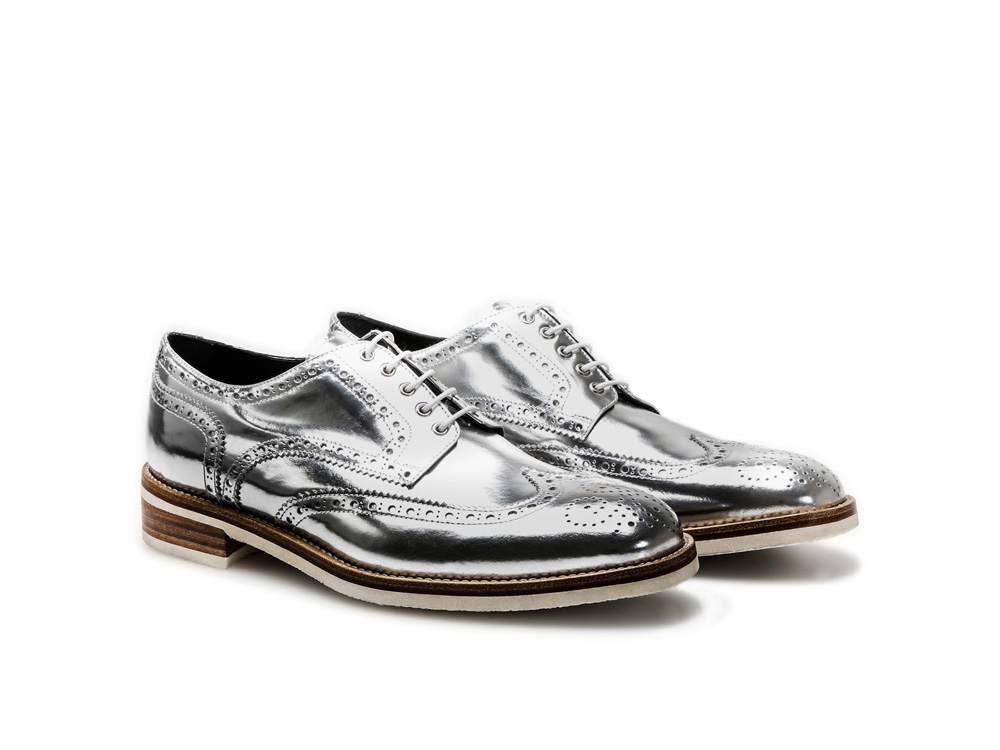 Silver Laminated Shiny Leather Men Derby Wing Brogue