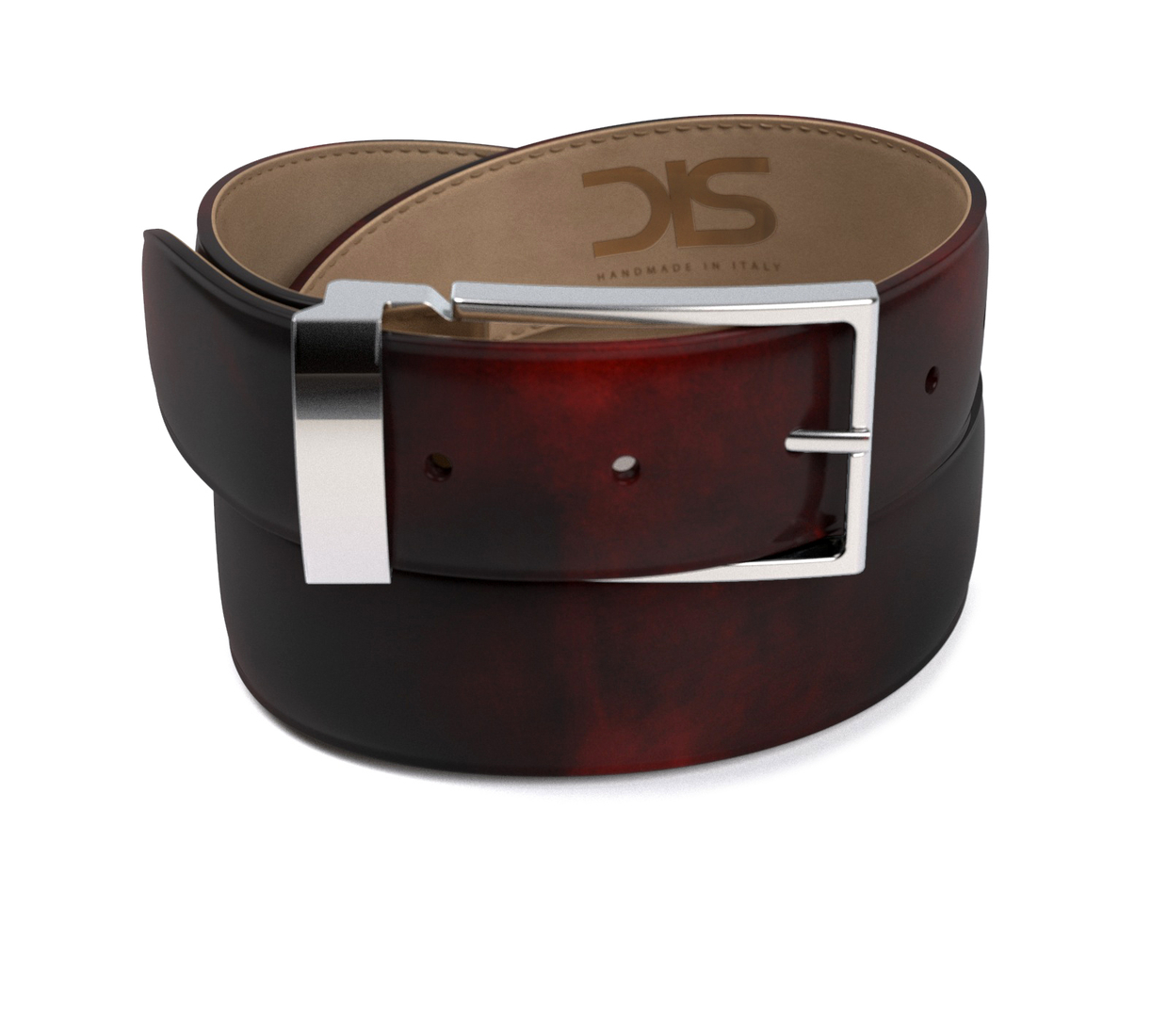 Burgundy polished leather belt with silver buckle