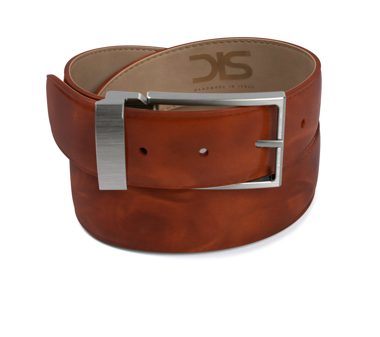 Tan polished leather belt with opaque buckle