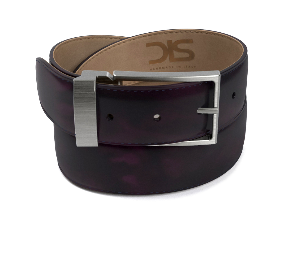 Violet polished leather belt with opaque buckle