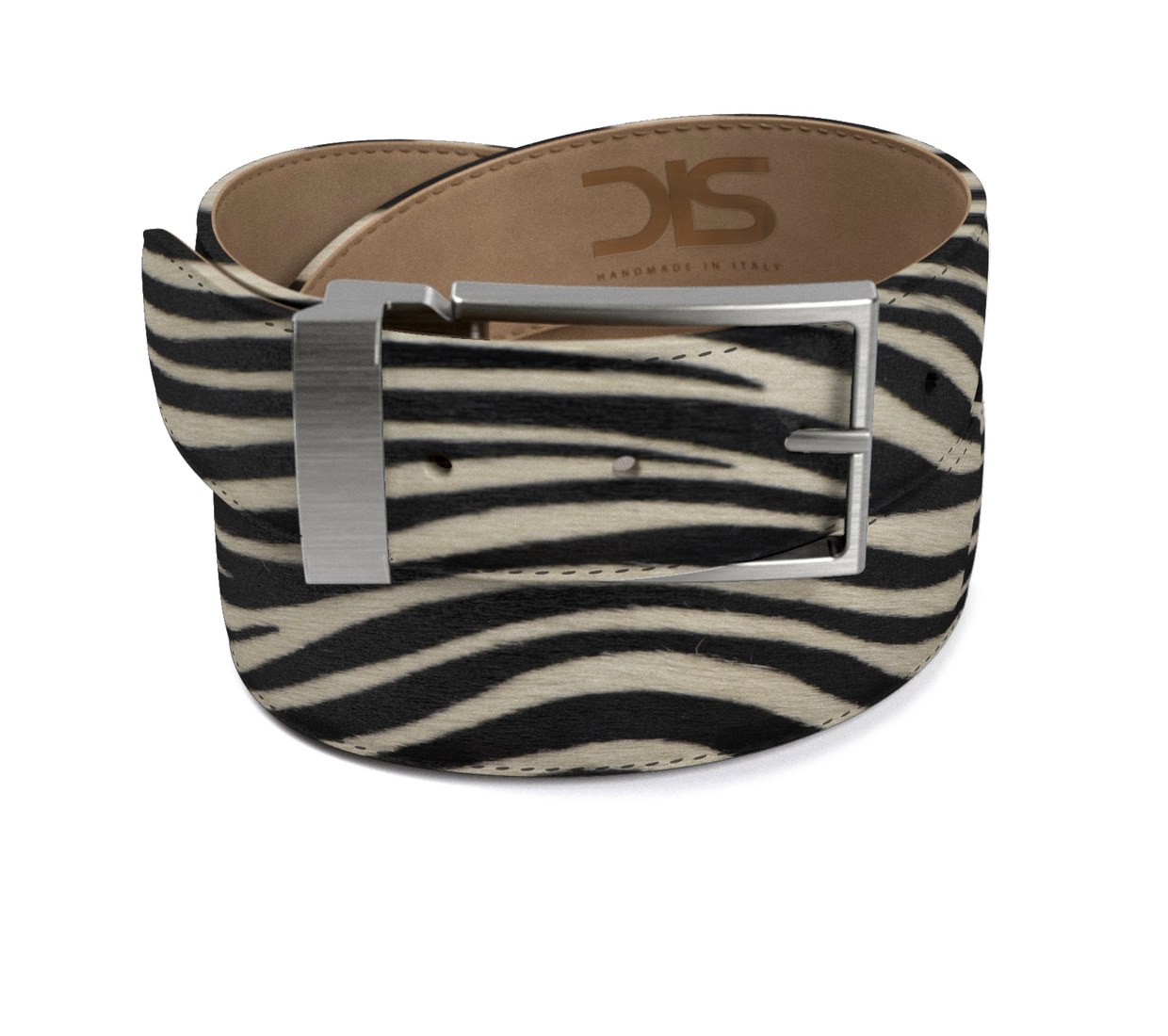 Zebra hairy leather belt with opaque buckle