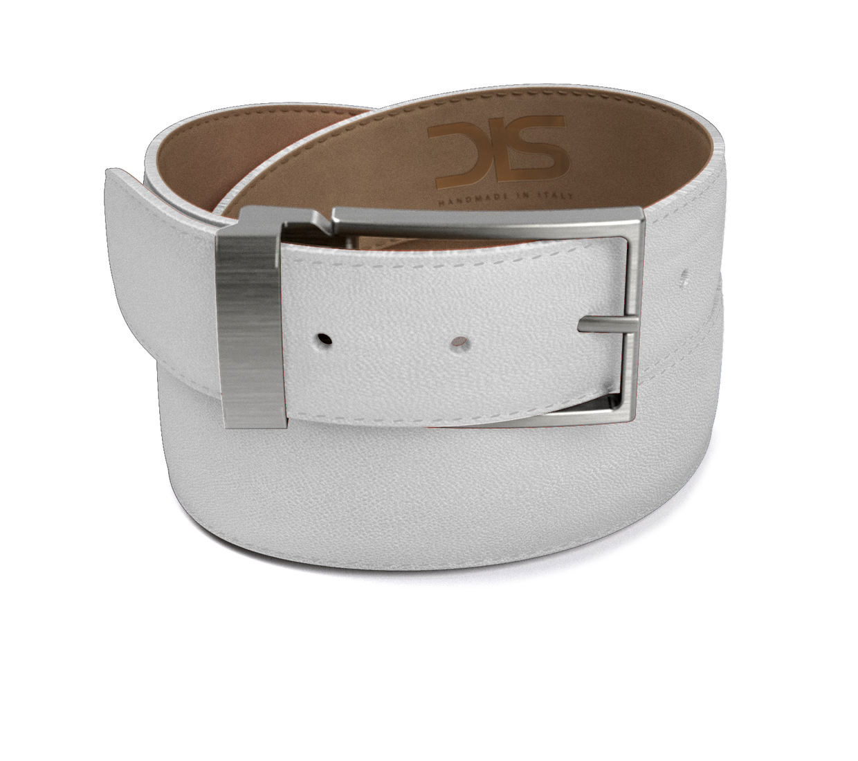 White grain leather belt with opaque buckle