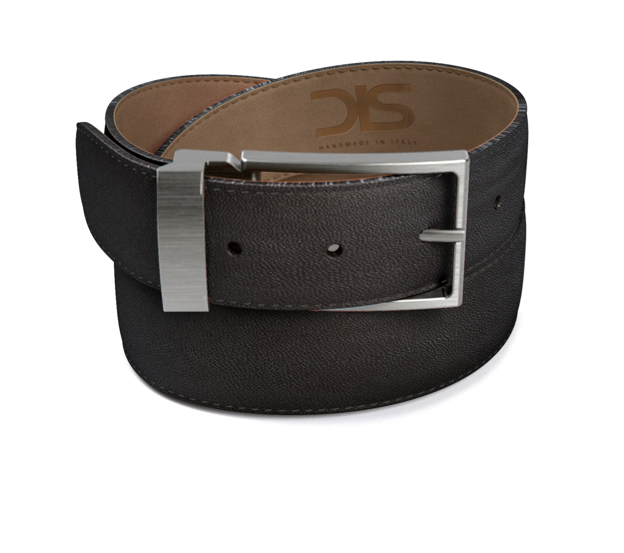 Black grain leather belt with opaque buckle