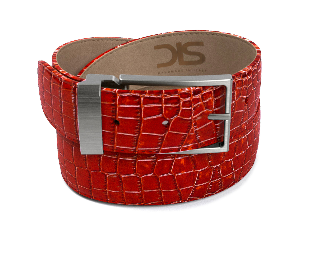 Red crocodile leather belt with opaque buckle