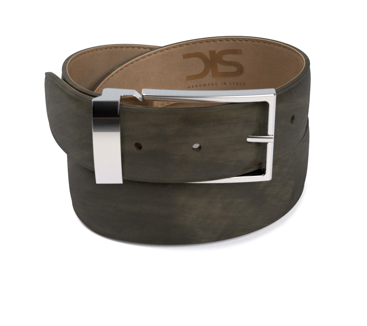 Grey deco leather belt with silver buckle