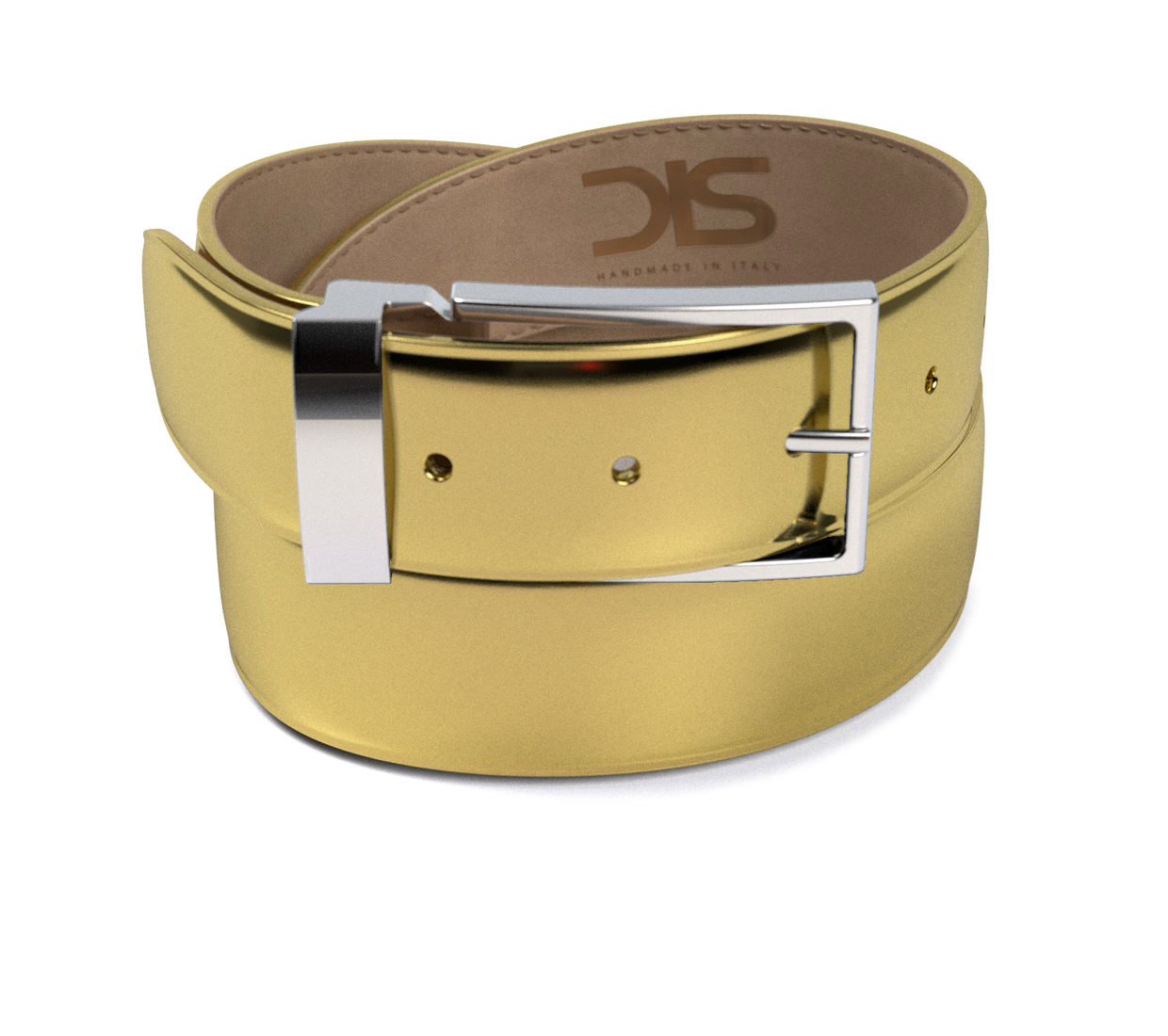 Shiny laminated gold leather belt with silver buckle