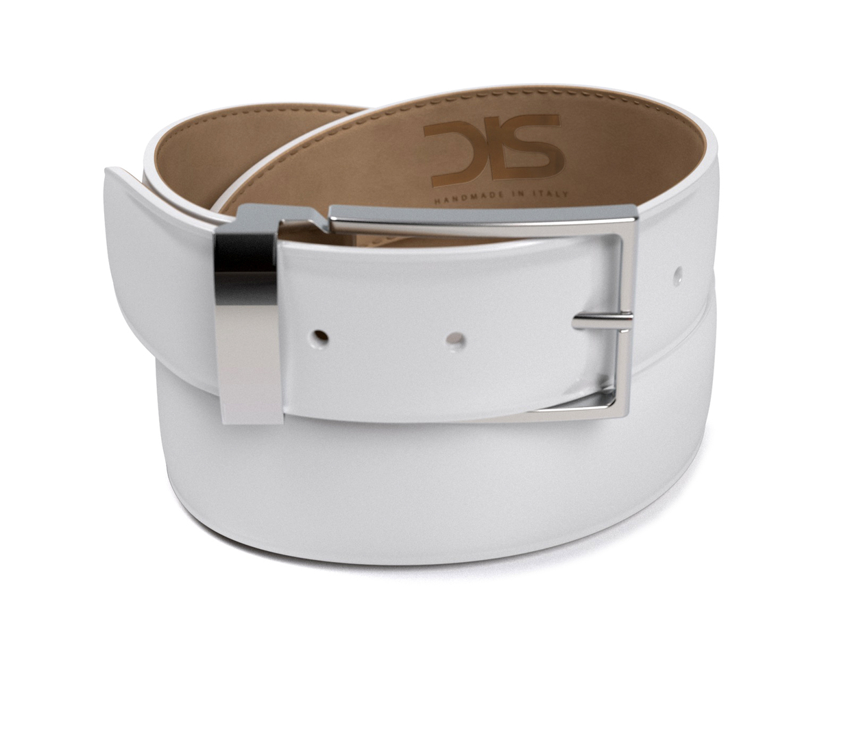 White shiny leather belt with silver buckle