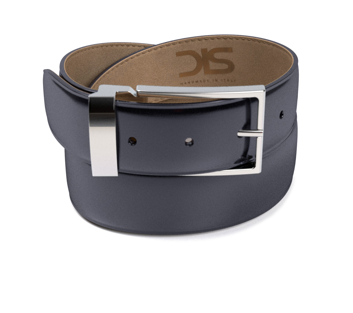 Navy shiny leather belt with silver buckle