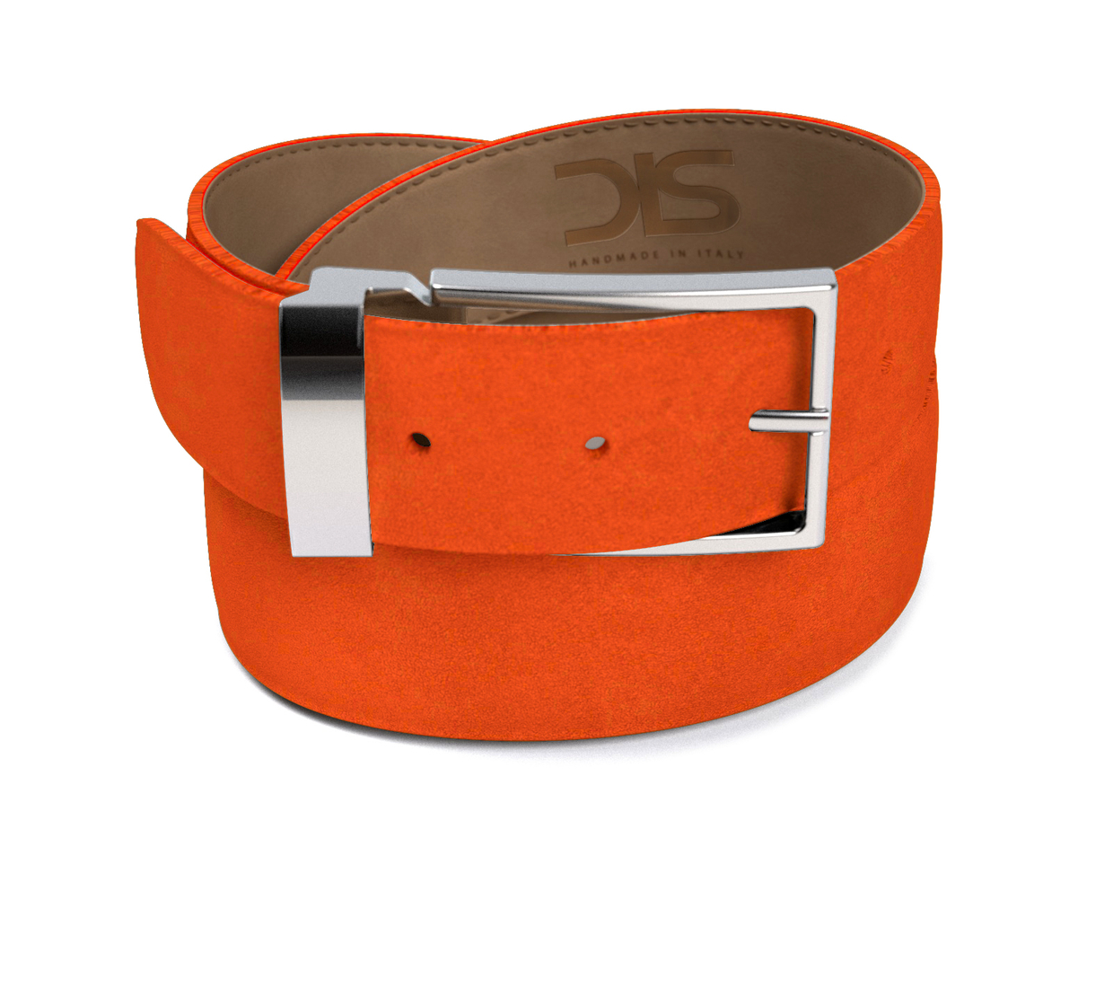 Orange suede leather belt with silver buckle
