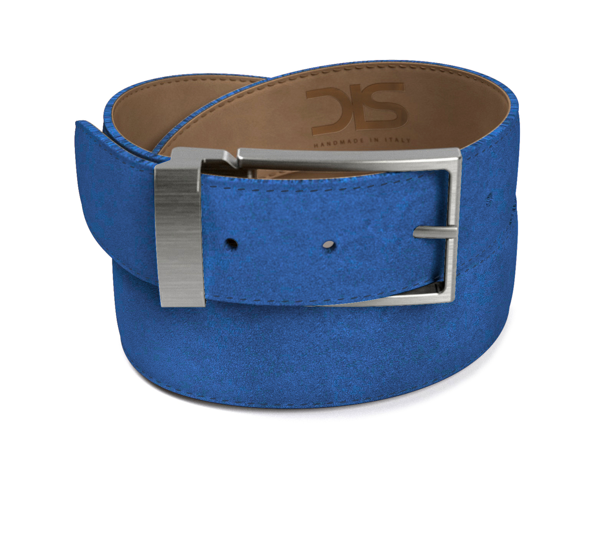 Indingo suede leather belt with opaque buckle