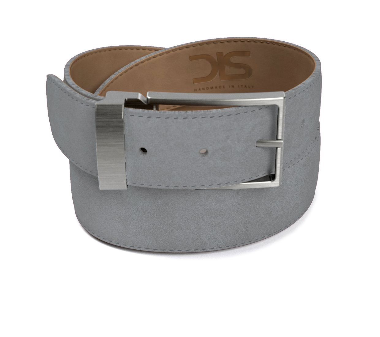 Grey suede leather belt with opaque buckle