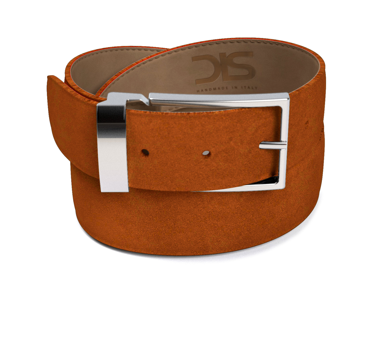 Cola suede leather belt with silver buckle