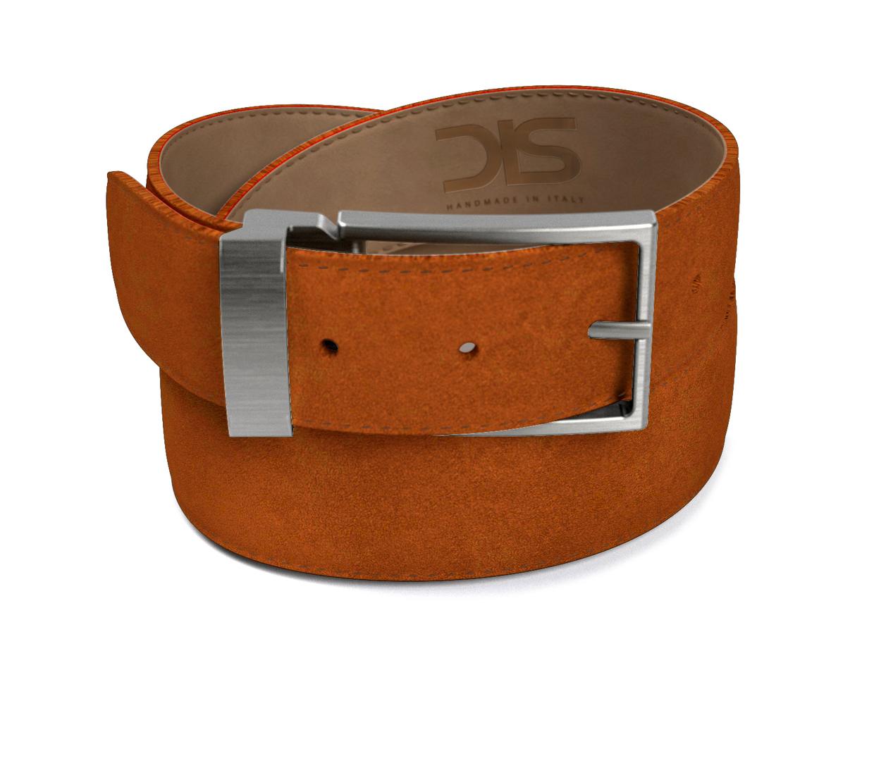 Cola suede leather belt with opaque buckle