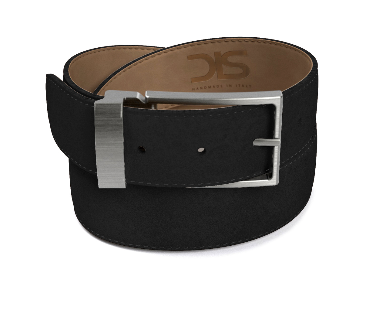 Black suede leather belt with opaque buckle
