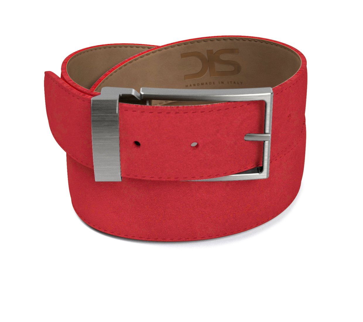 Red suede leather belt with opaque buckle