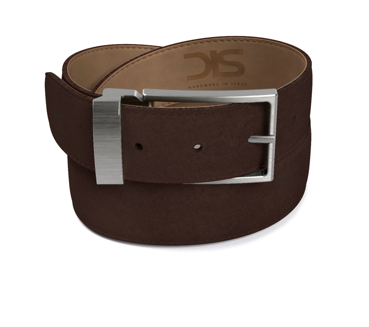Coffee suede leather belt with opaque buckle