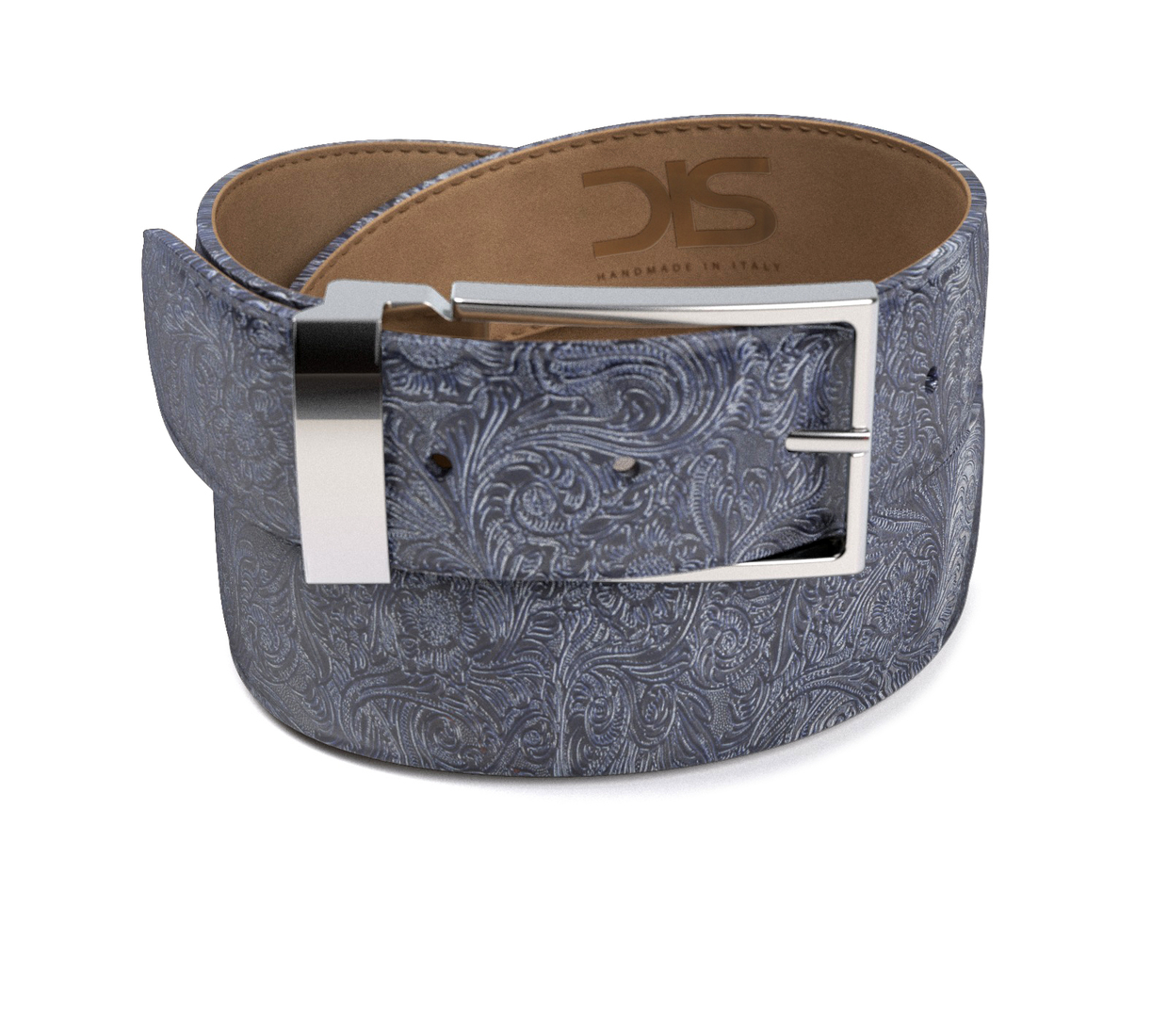pattern blue damask leather belt with silver buckle dis