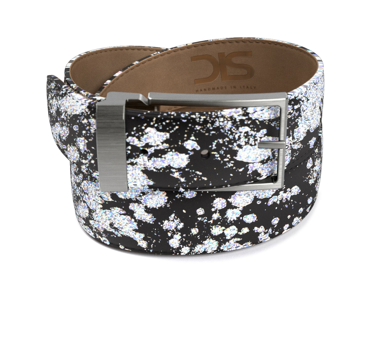 Pattern silver spray leather belt with opaque buckle