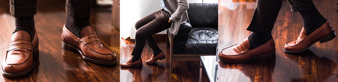 Classic men's shoes, elegant moccasins made to measure